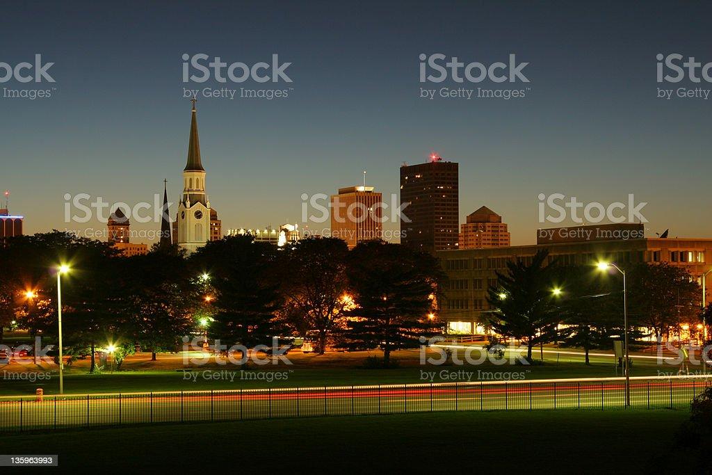 Dusk Cityscape, Dayton, Ohio, Skyline stock photo