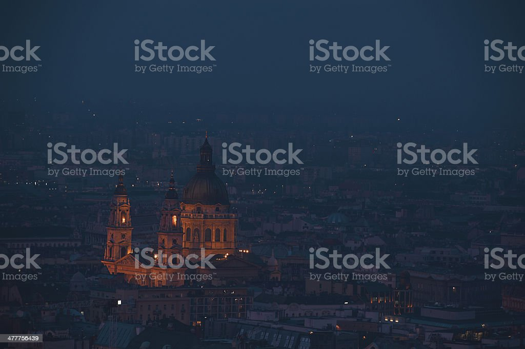 Dusk cityscape of the St Stephen's Basilica in Budapest stock photo