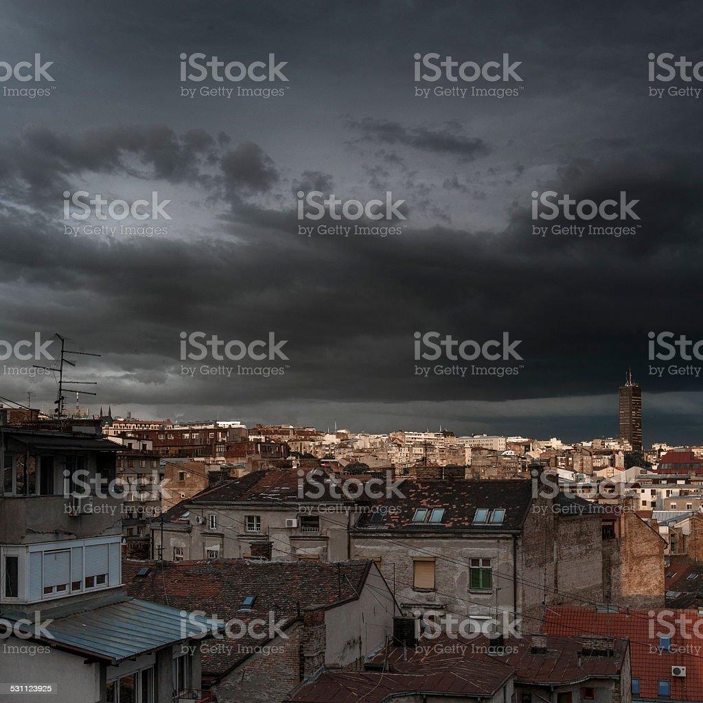 Dusk cityscape stock photo