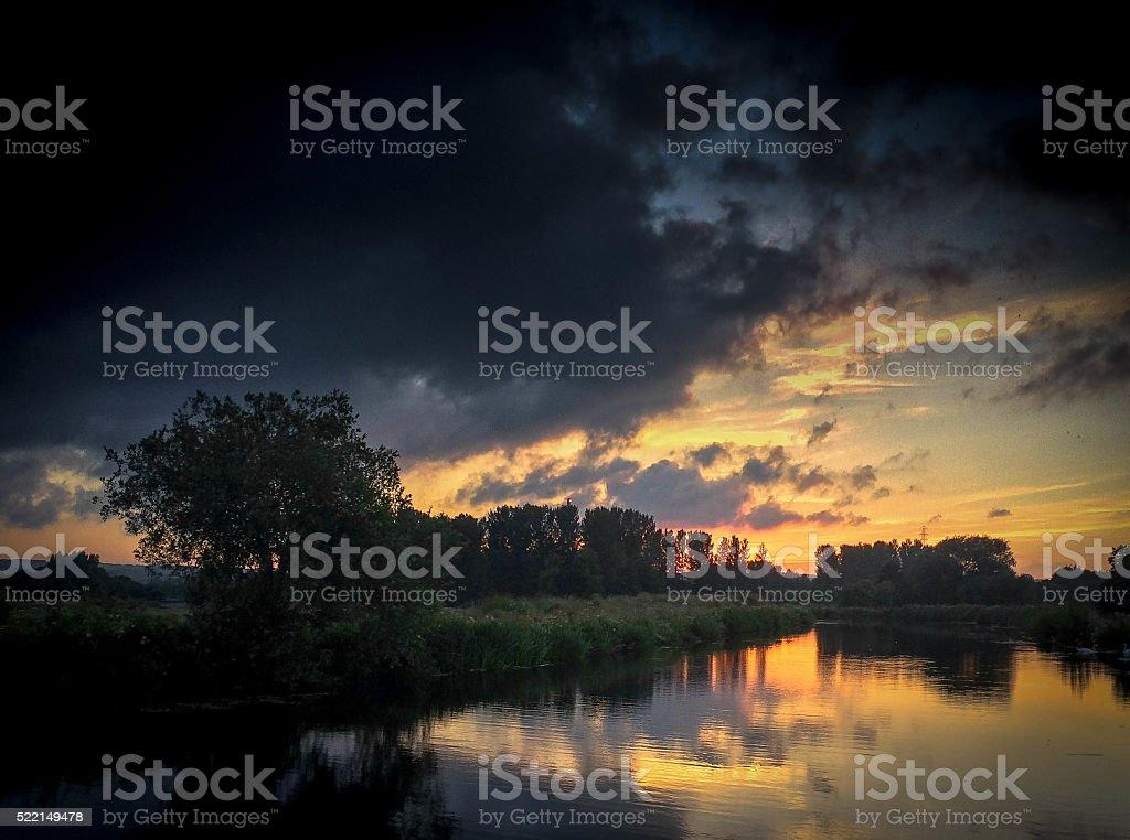 Dusk Exeter Canal stock photo