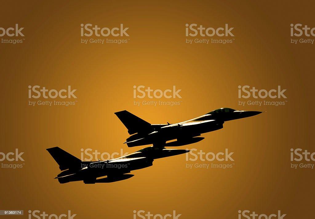 Dusk Fighter Jets royalty-free stock photo