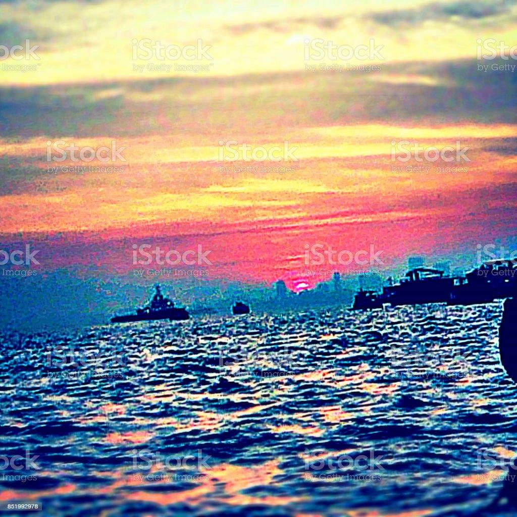 Dusk from ocean stock photo
