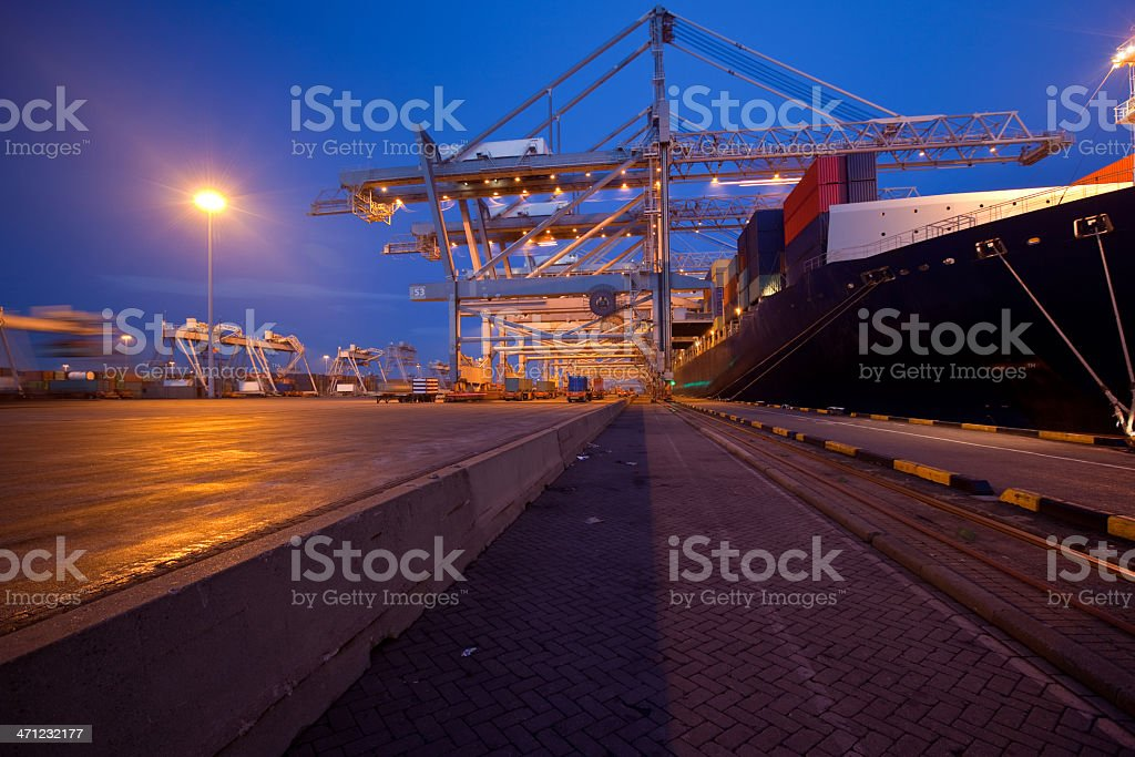 Dusk harbor view royalty-free stock photo
