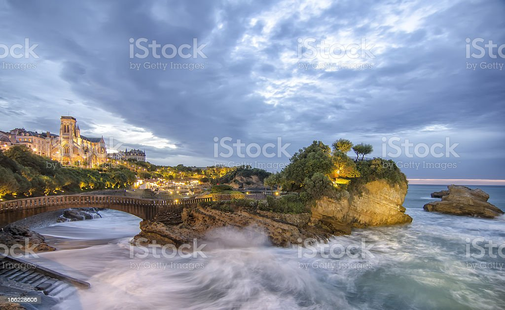 Dusk in Biarritz ,France stock photo
