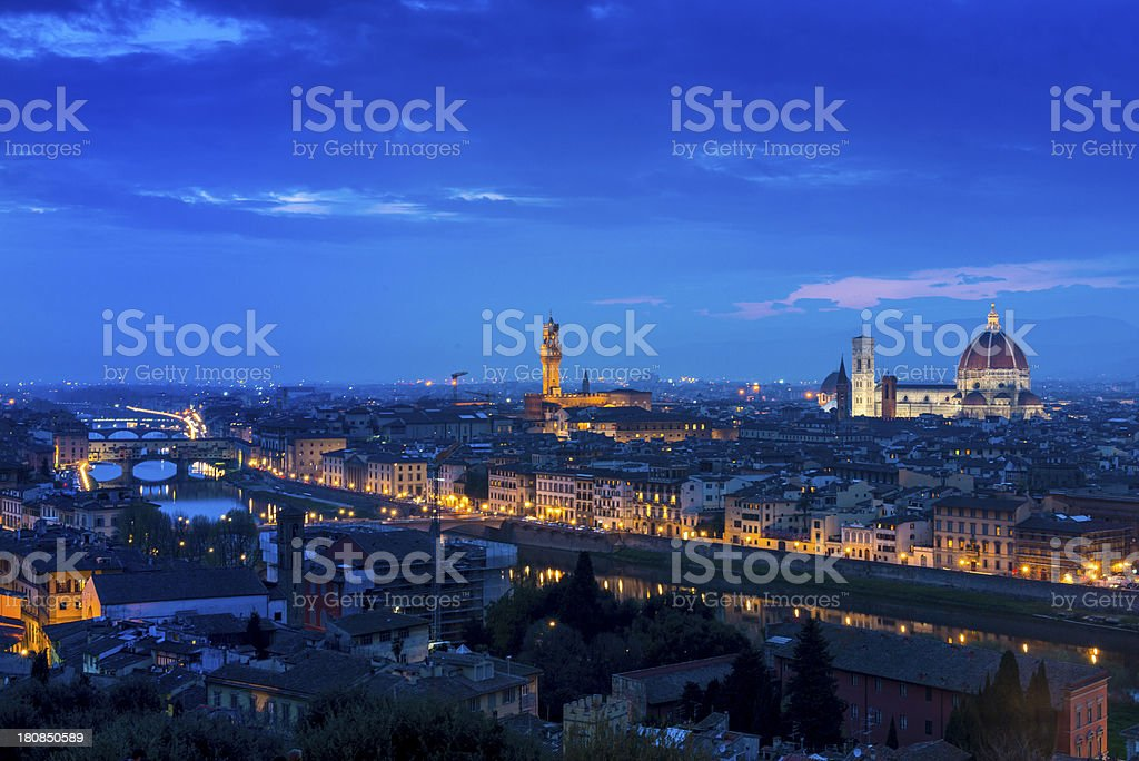 Dusk in Florence, Italy royalty-free stock photo