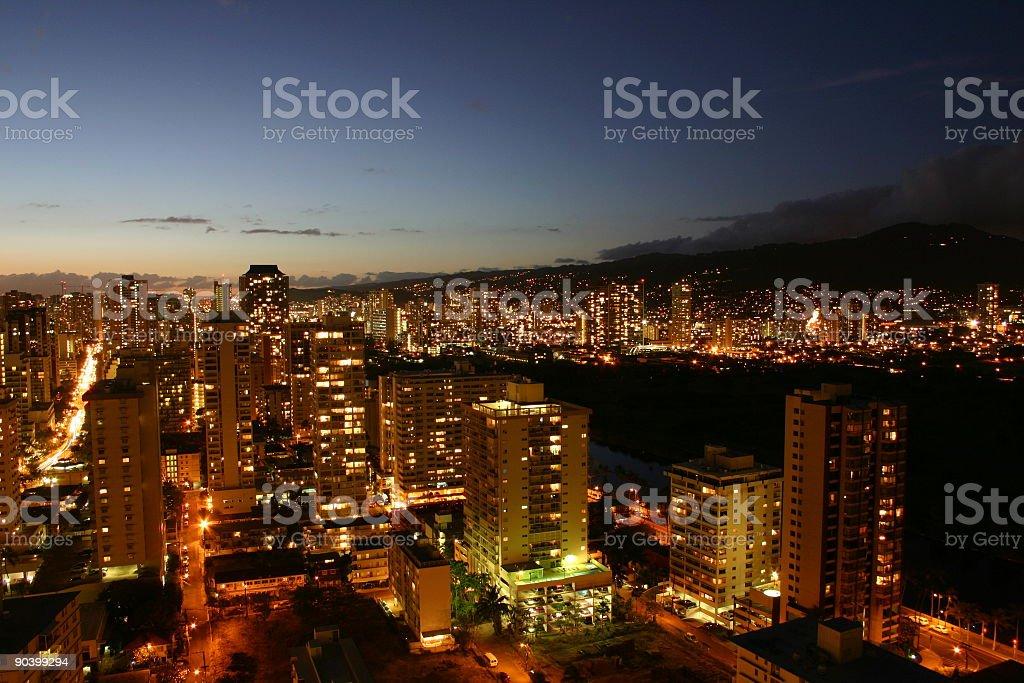 Dusk in Honolulu royalty-free stock photo
