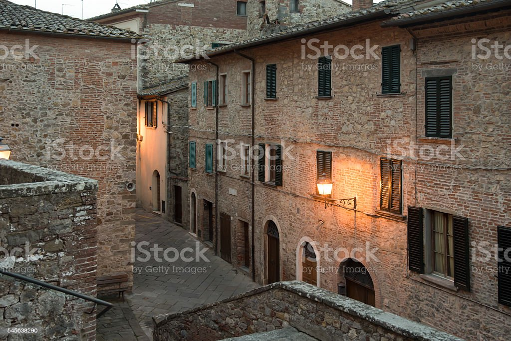 Dusk in Lucignano royalty-free stock photo