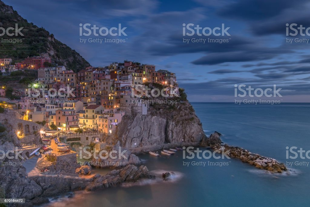 Dusk in Manarola stock photo