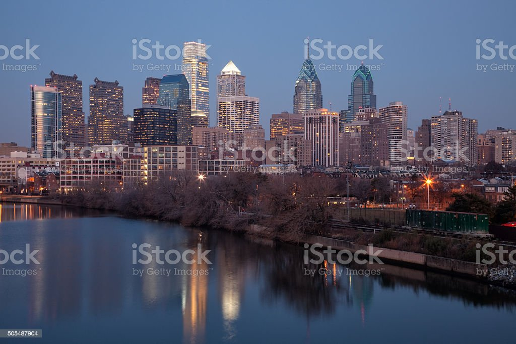 Dusk in Philadelphia Along The Schuylkill River stock photo