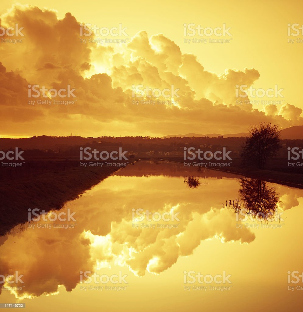 Dusk in river  - Reflection on the water, stock photo