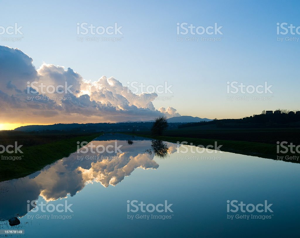 Dusk in river  - Reflection on the water royalty-free stock photo