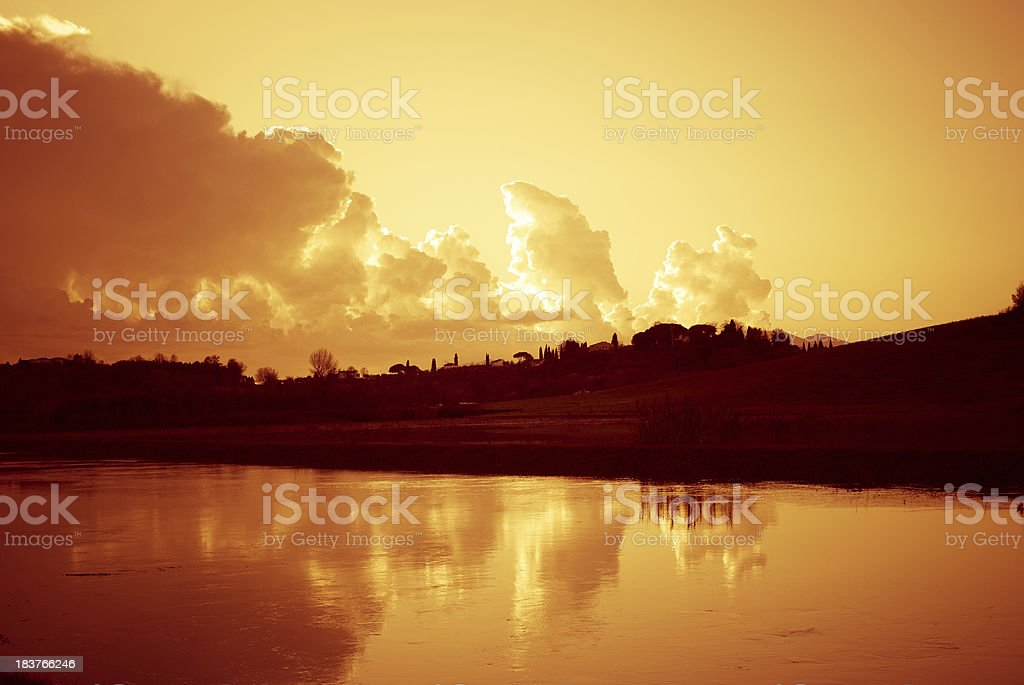 Dusk in river  - Reflection on the water, royalty-free stock photo