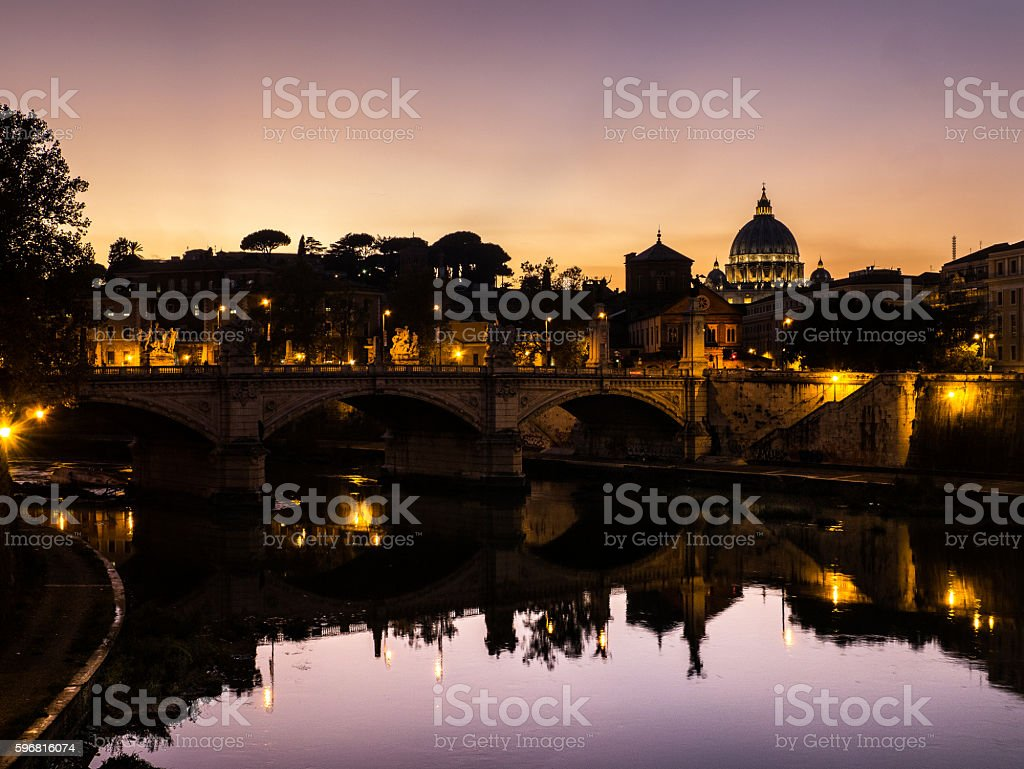 Dusk in Rome Tiber and Peters dome (vatican) stock photo