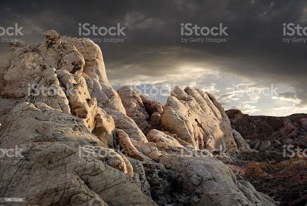 Dusk in the desert stock photo