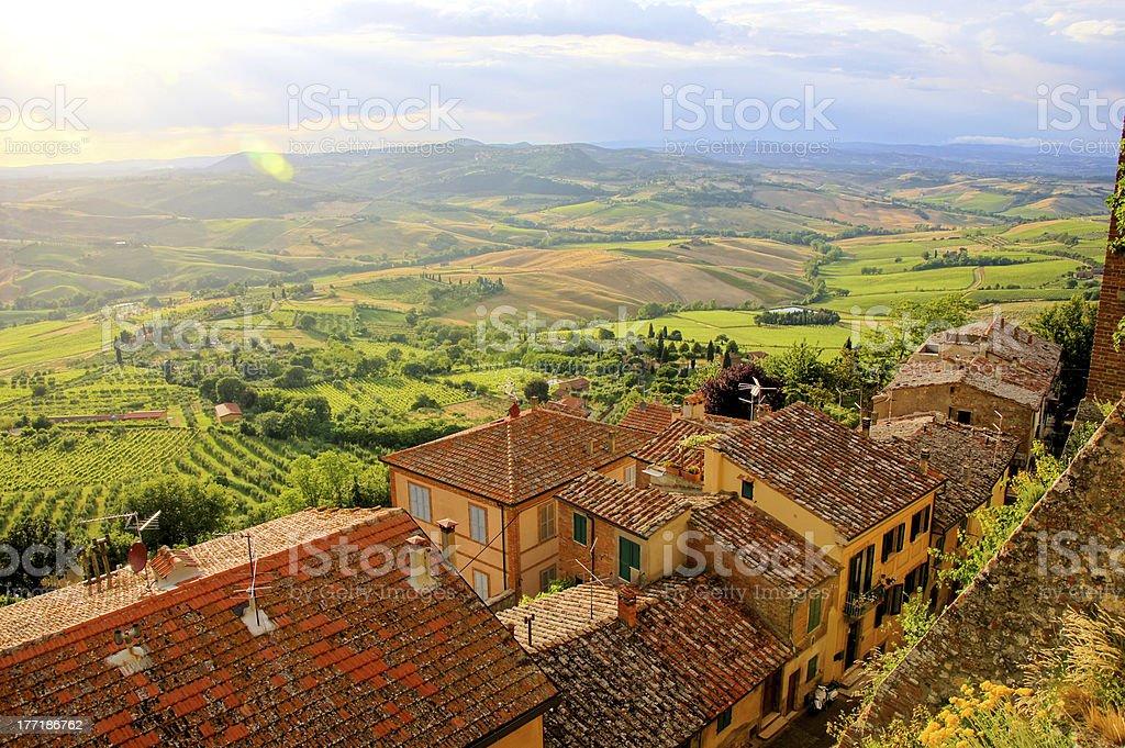 Dusk in Tuscany stock photo