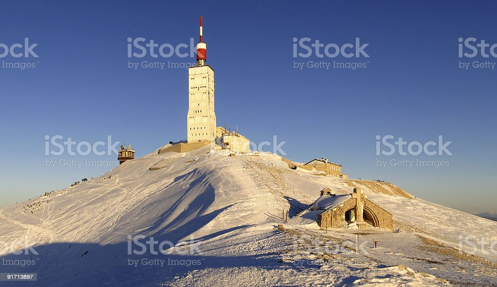 Dusk in winter at Mont Ventoux summit stock photo