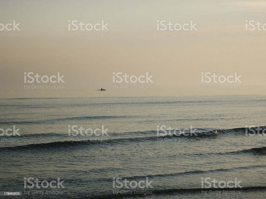 Dusk Kayaker royalty-free stock photo