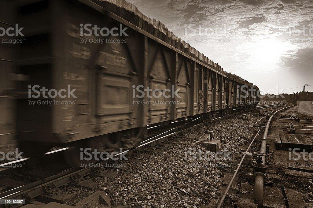 Dusk, Motion Blur freight train. royalty-free stock photo