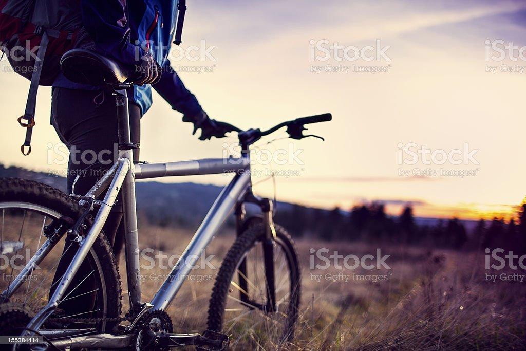 Dusk Mountain Bike Trail Ride stock photo