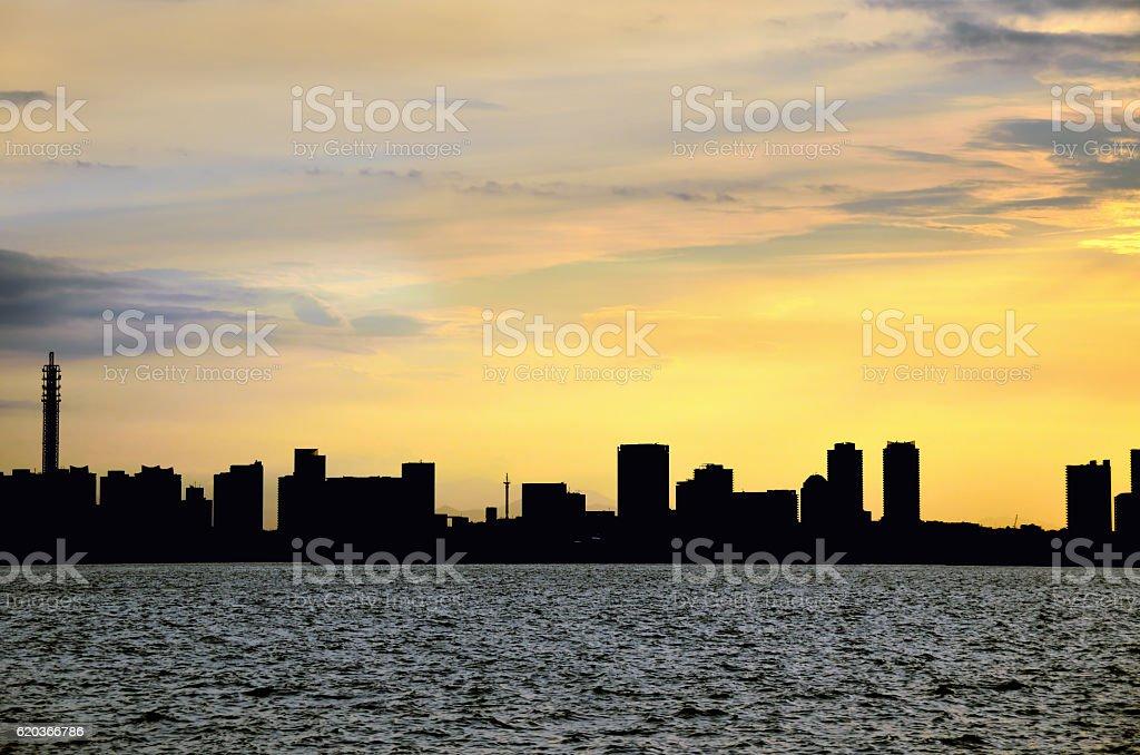 Dusk of the port city of Yokohama, Kanagawa, Japan stock photo