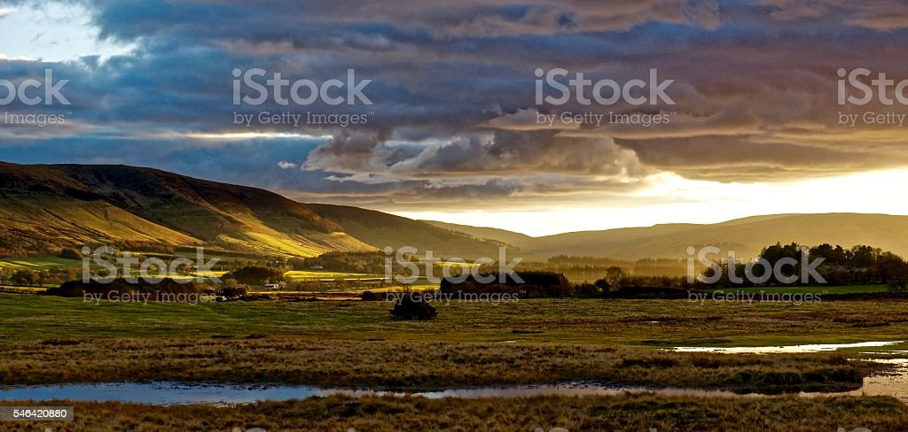 Dusk on a hillside. stock photo