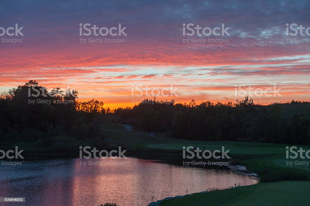 Dusk on the Golf Course stock photo