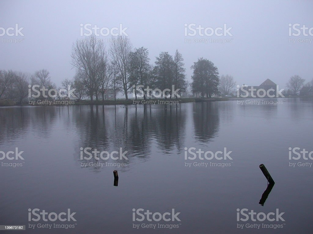 Dusk over Broek-in-Waterland royalty-free stock photo