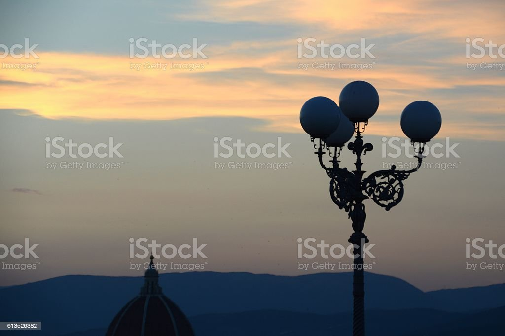 Dusk over Florence, Italy stock photo