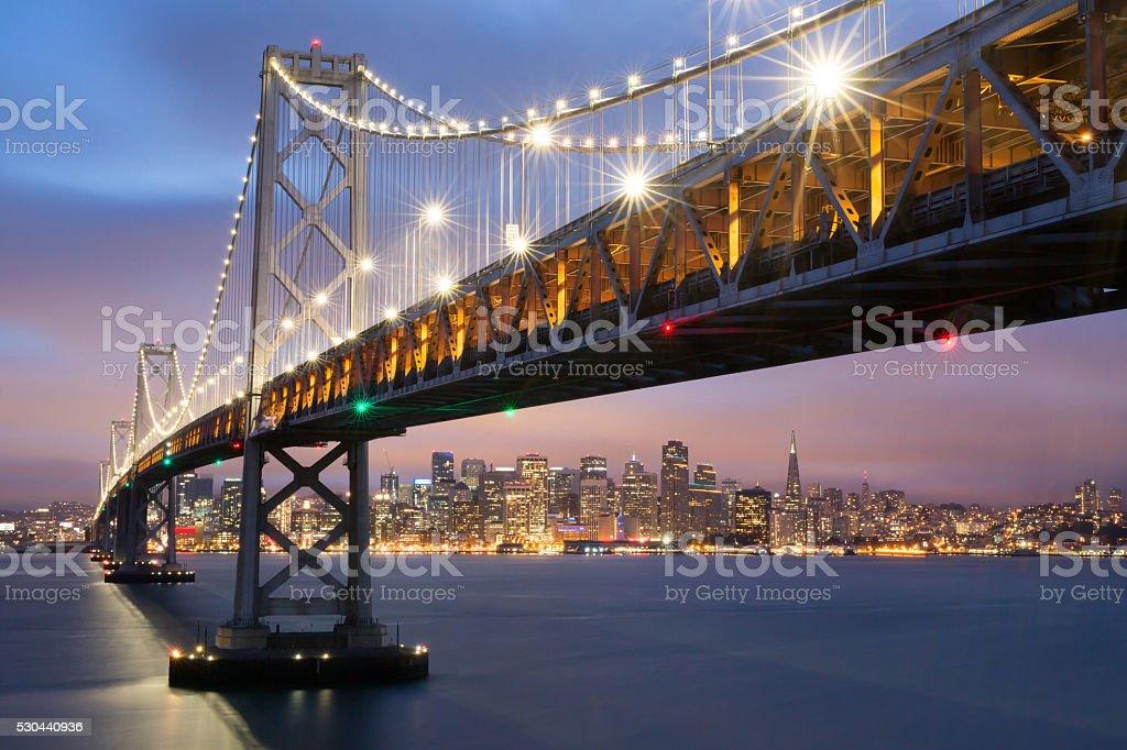 Dusk over Oakland-San Francisco Bay Bridge and San Francisco Skyline stock photo