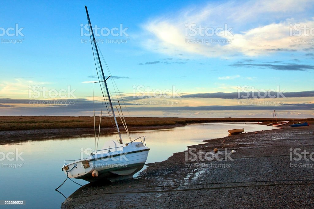 Dusk over the coastal marshes in Norfolk stock photo