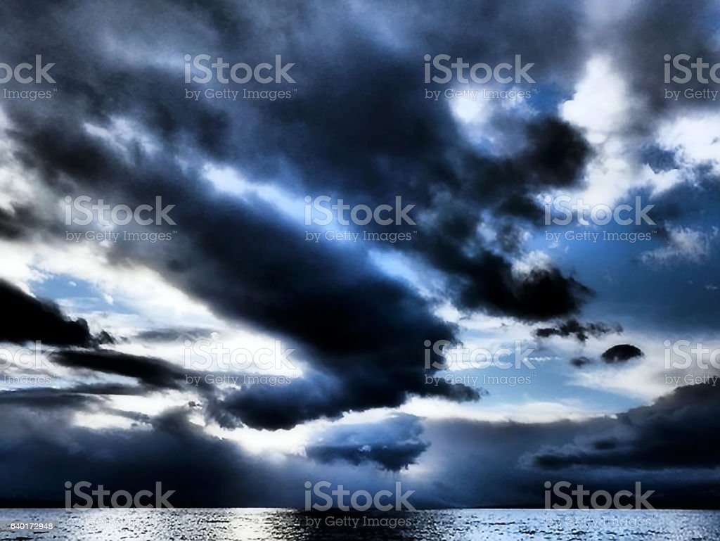 dusk over the ocean stock photo