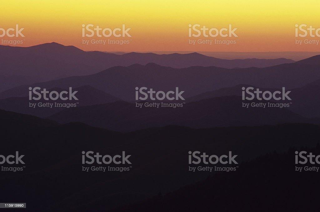 Dusk over the Smoky Mountains stock photo