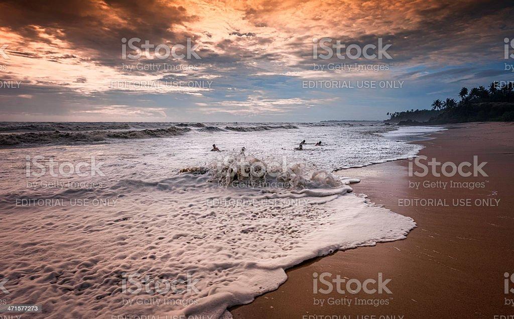 Dusk over Thottada beach, Kannur, Kerala, India. stock photo