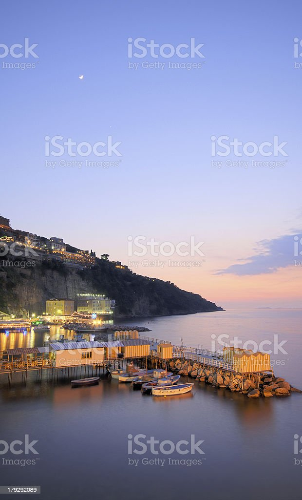 Dusk shot of Marina Grande, Sorrento royalty-free stock photo