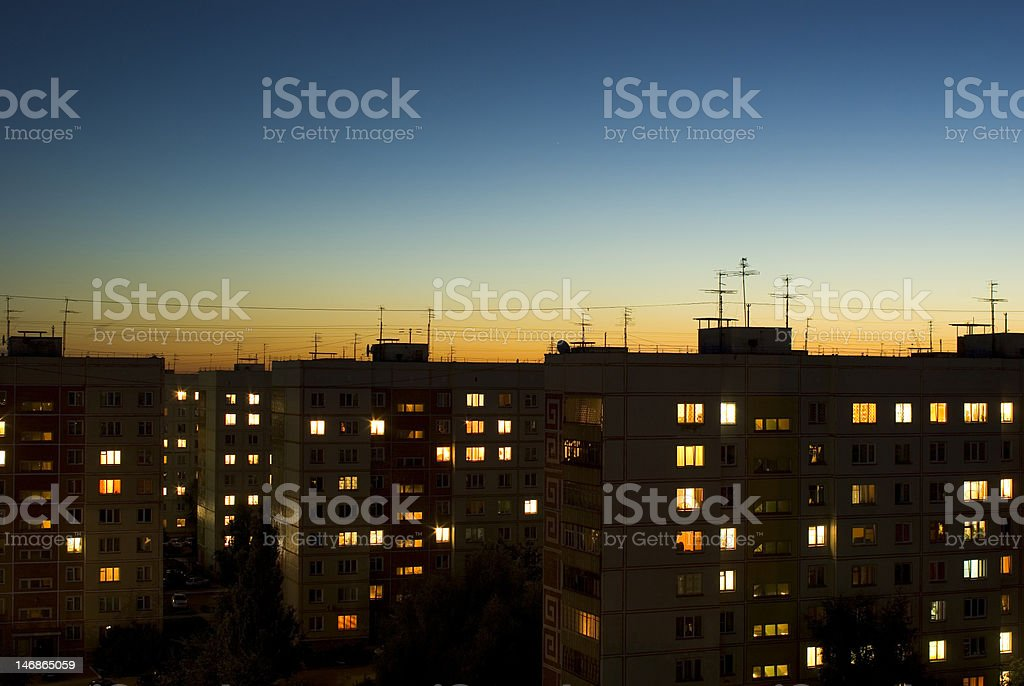 dusk sky and evening houses royalty-free stock photo