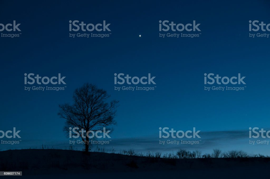 Dusk sky and Venus stock photo