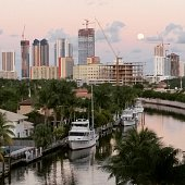 Dusk Super Moon North Miami Beach Neighborhood Water View Cityscape