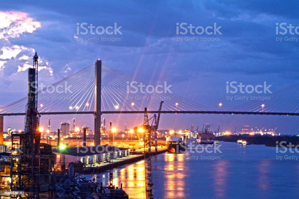 Dusk View of Boats on Savannah River stock photo