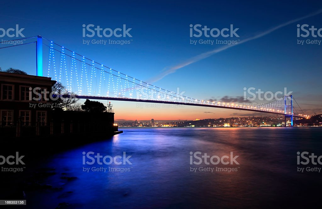 Dusk view of bridge over waters in the city royalty-free stock photo