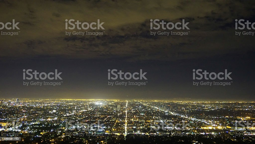 Dusk view of City of Los Angeles, California stock photo