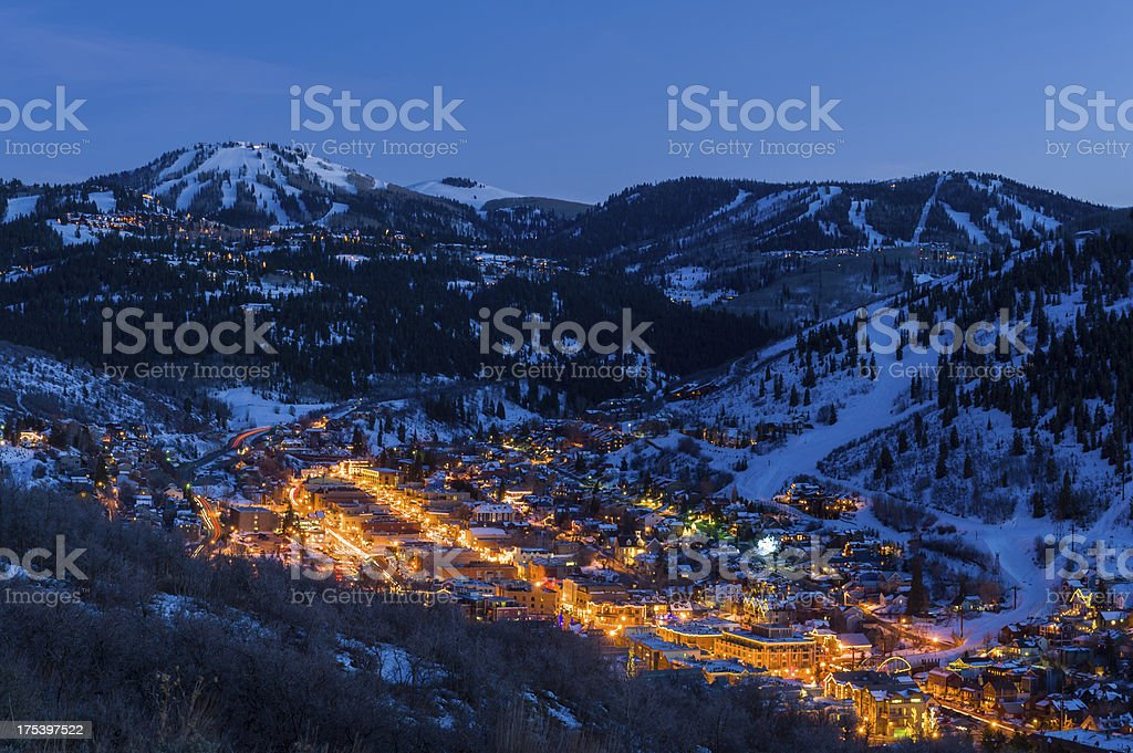 Dusk View of Park City Glowing royalty-free stock photo