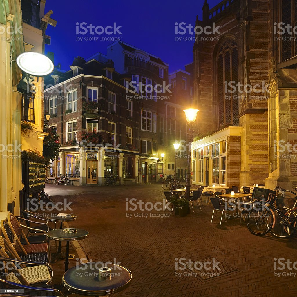 Dusk view on a street at Amsterdam royalty-free stock photo