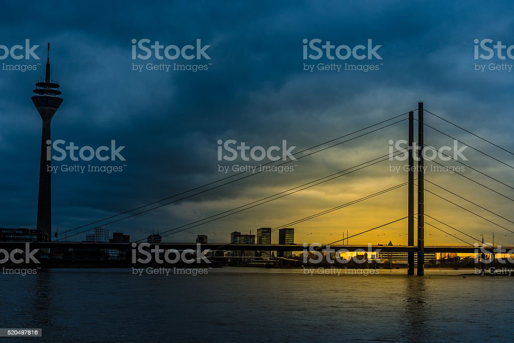 Dusseldorf at night stock photo