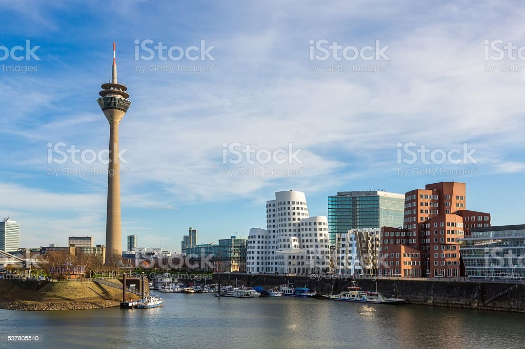 Dusseldorf cityscape with view on media harbor, Germany stock photo