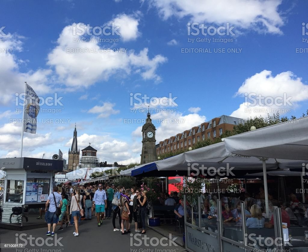 Dusseldorf Germany - September 3 2016. Altstadt district. Area full of bars and cafes and a tourist attraction in Dusseldorf. stock photo