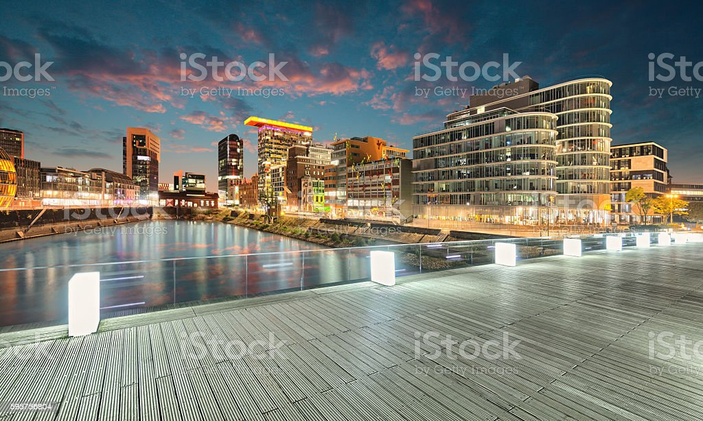 dusseldorf harbour germany stock photo