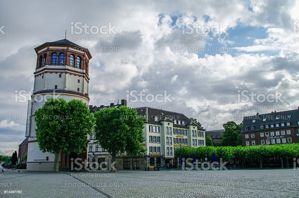 Dusseldorf historic center with Old Castle Tower stock photo