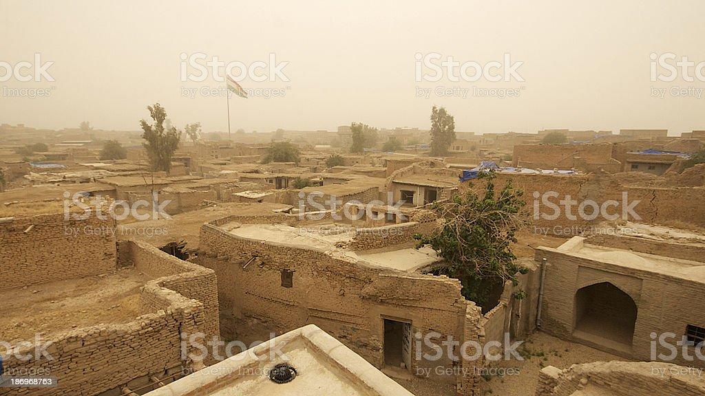 Dust filled sky over Arbil Citadel, Kurdistan, Iraq stock photo