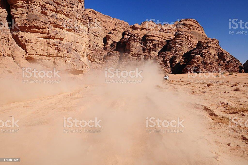 dust on desert stock photo