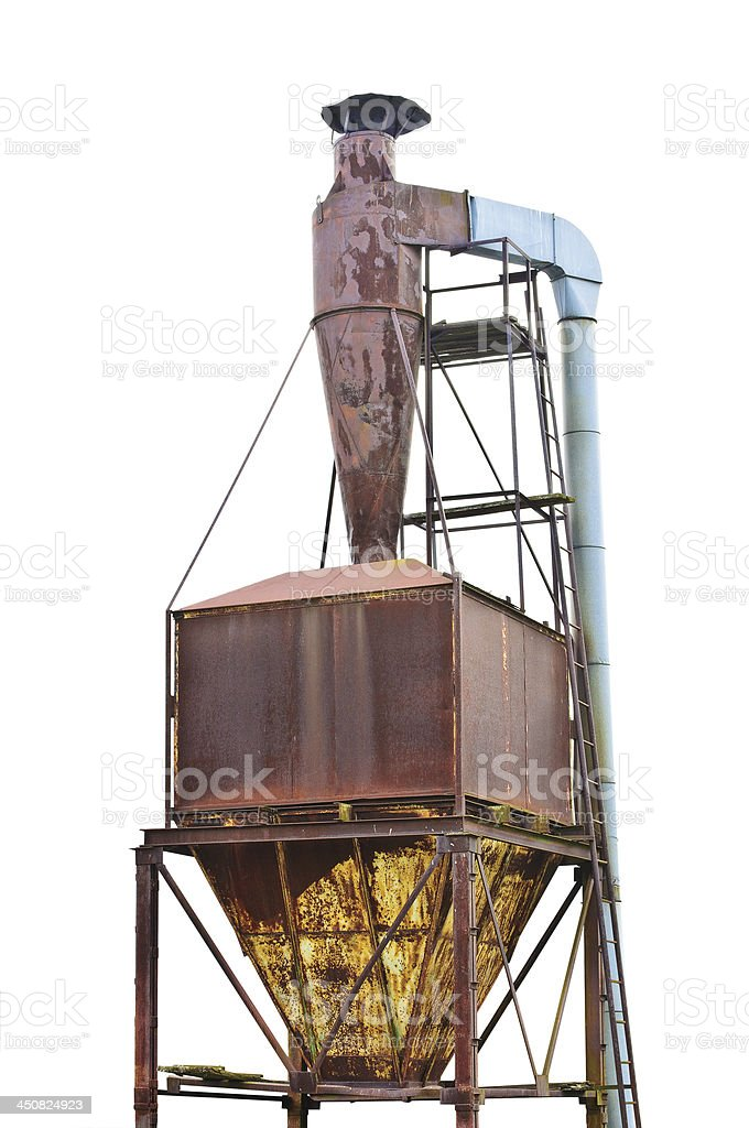 Dust purification cyclone air vortex separation separator, old aged isolated stock photo